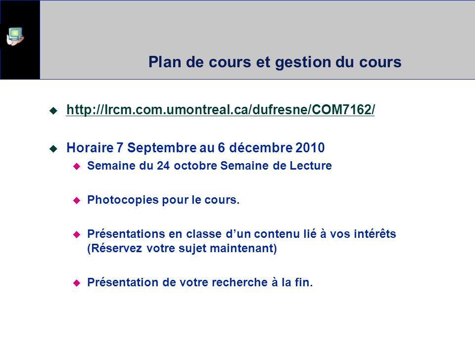 Plan de cours et gestion du cours