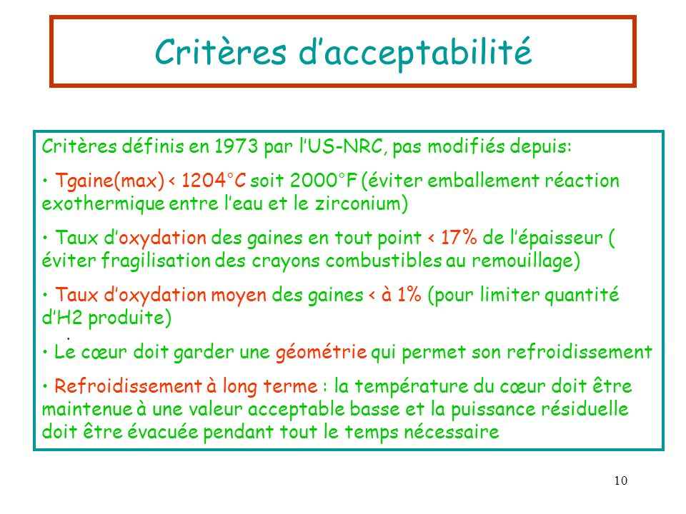 Critères d'acceptabilité
