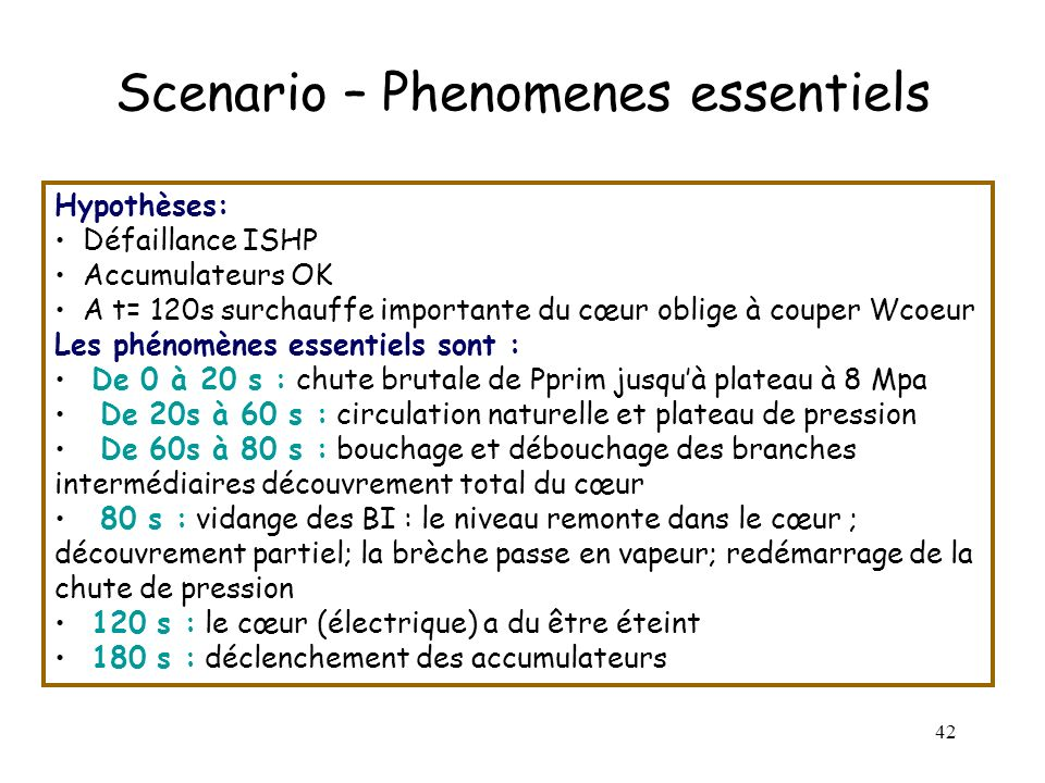 Scenario – Phenomenes essentiels
