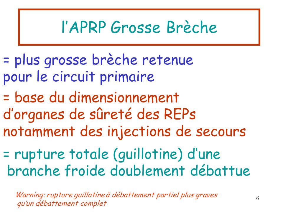 l'APRP Grosse Brèche = plus grosse brèche retenue