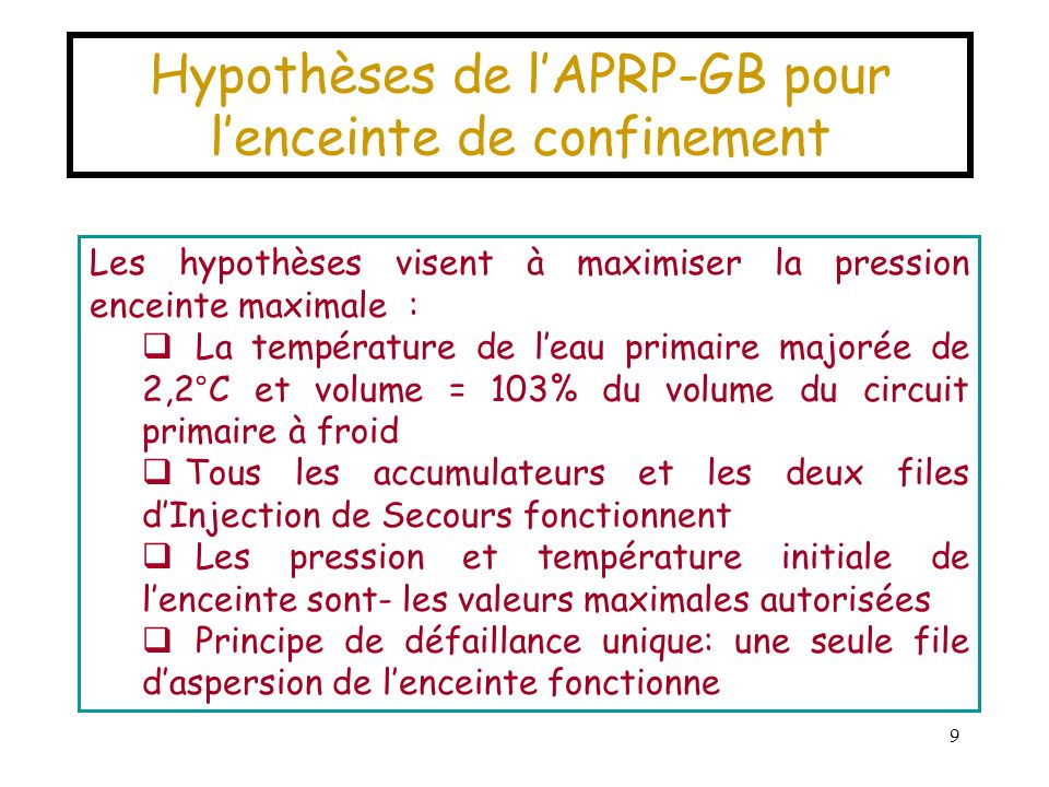 Hypothèses de l'APRP-GB pour l'enceinte de confinement