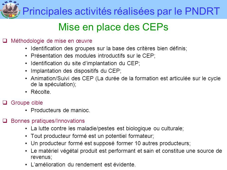 Principales activités réalisées par le PNDRT