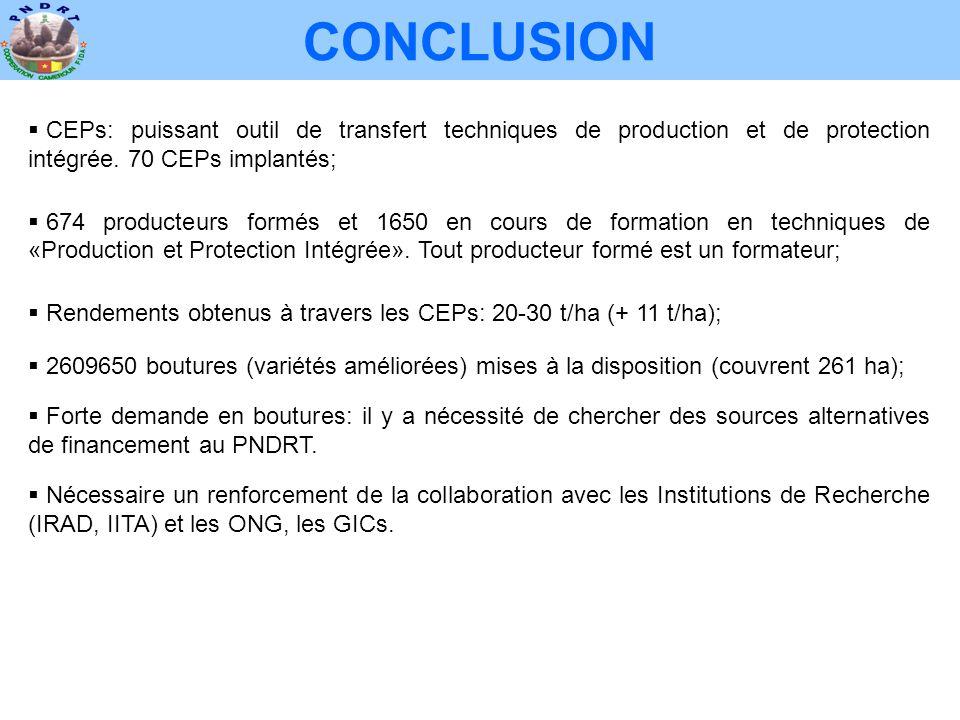 CONCLUSION CEPs: puissant outil de transfert techniques de production et de protection intégrée. 70 CEPs implantés;