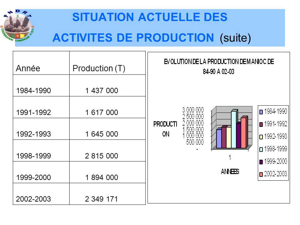 SITUATION ACTUELLE DES ACTIVITES DE PRODUCTION (suite)