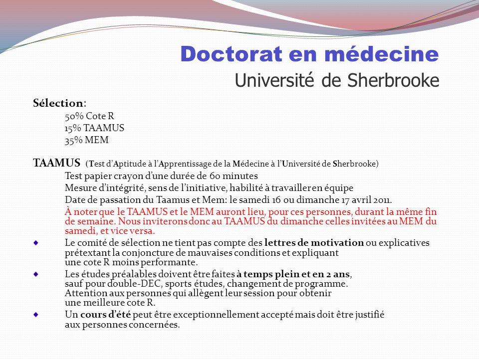 Doctorat en médecine Université de Sherbrooke