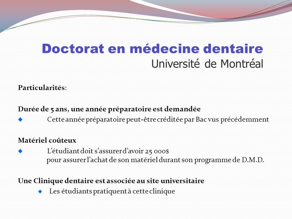 Doctorat en médecine dentaire Université de Montréal