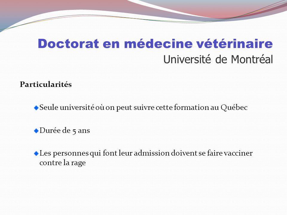 Doctorat en médecine vétérinaire Université de Montréal