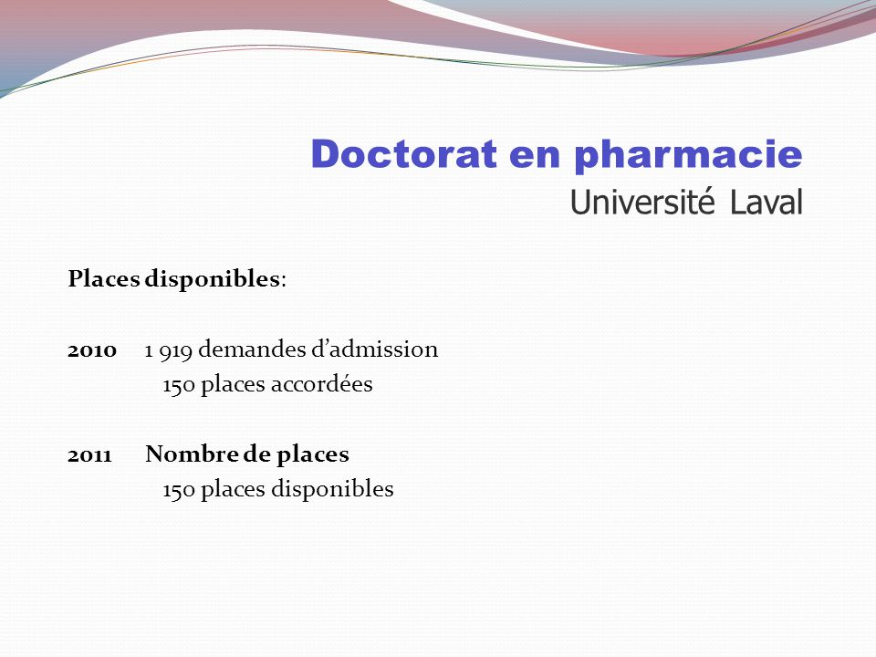 Doctorat en pharmacie Université Laval