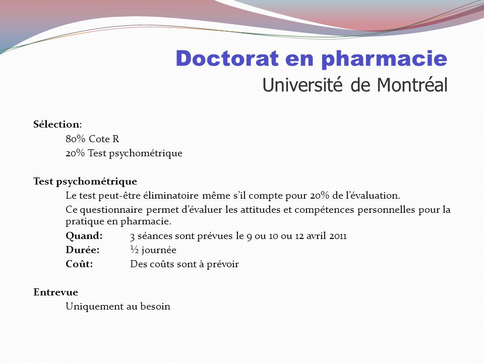 Doctorat en pharmacie Université de Montréal