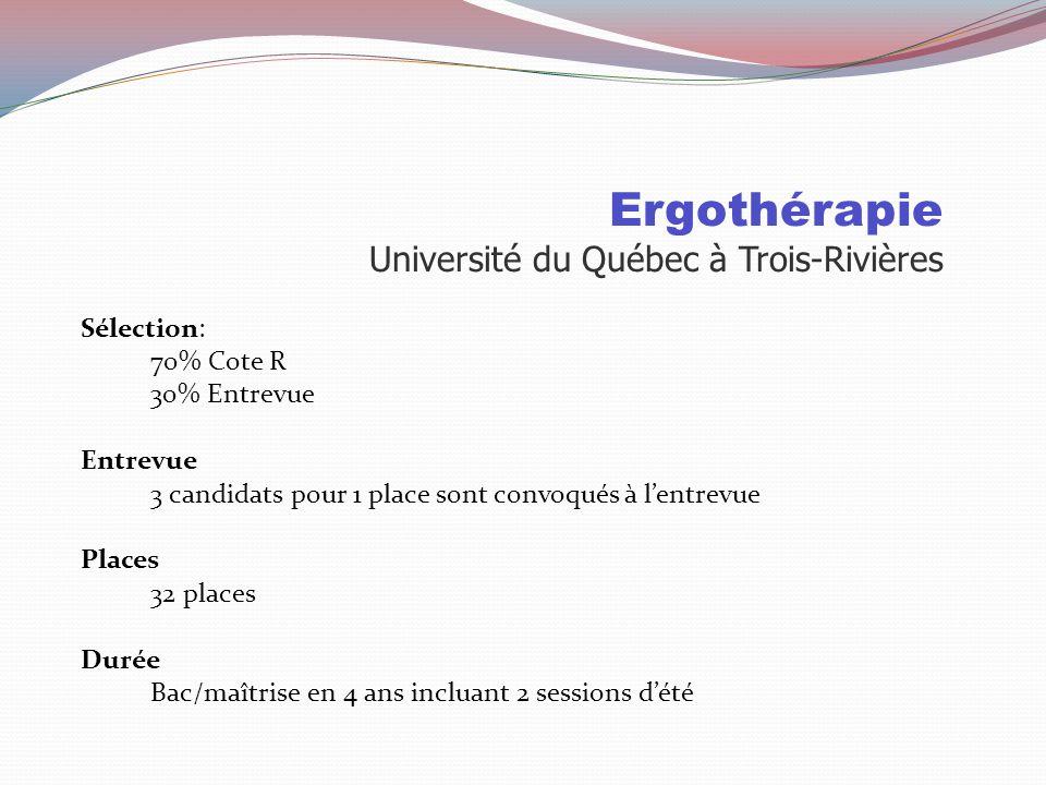 Ergothérapie Université du Québec à Trois-Rivières