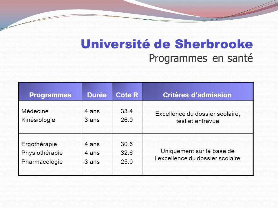 Université de Sherbrooke Programmes en santé