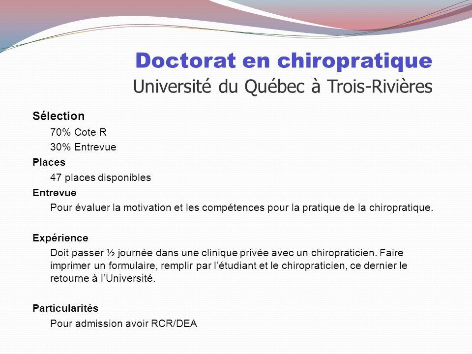 Doctorat en chiropratique Université du Québec à Trois-Rivières