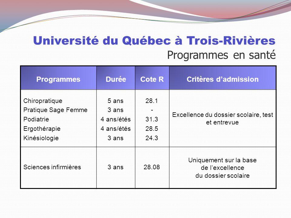 Université du Québec à Trois-Rivières Programmes en santé