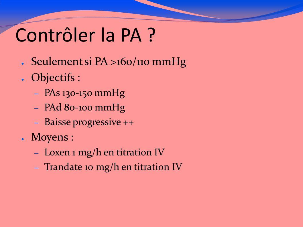 Contrôler la PA Seulement si PA >160/110 mmHg Objectifs :