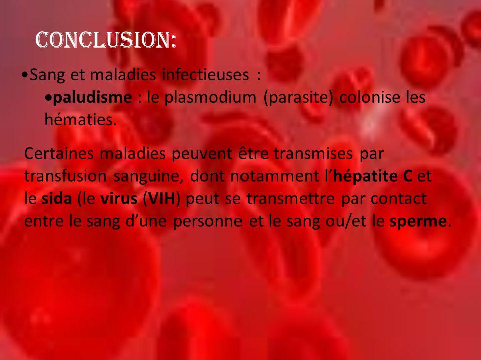 CONCLUSION: Sang et maladies infectieuses :