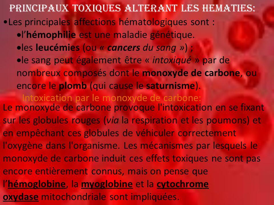 PRINCIPAUX TOXIQUES ALTERANT LES HEMATIES: