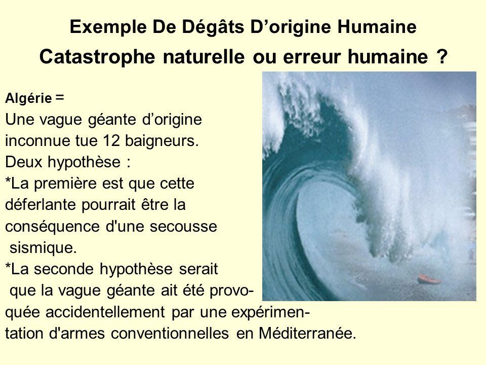 Exemple De Dégâts D'origine Humaine Catastrophe naturelle ou erreur humaine
