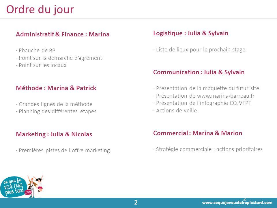 Ordre du jour Administratif & Finance : Marina
