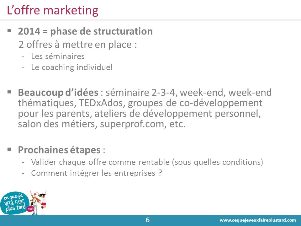 L'offre marketing 2014 = phase de structuration