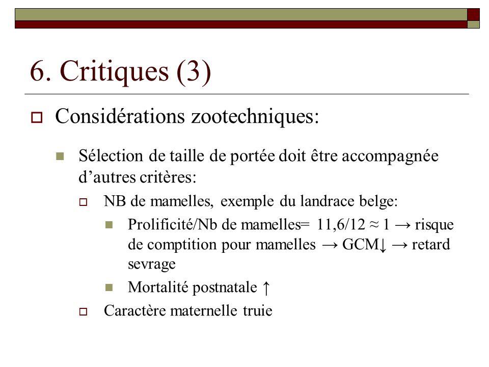 6. Critiques (3) Considérations zootechniques: