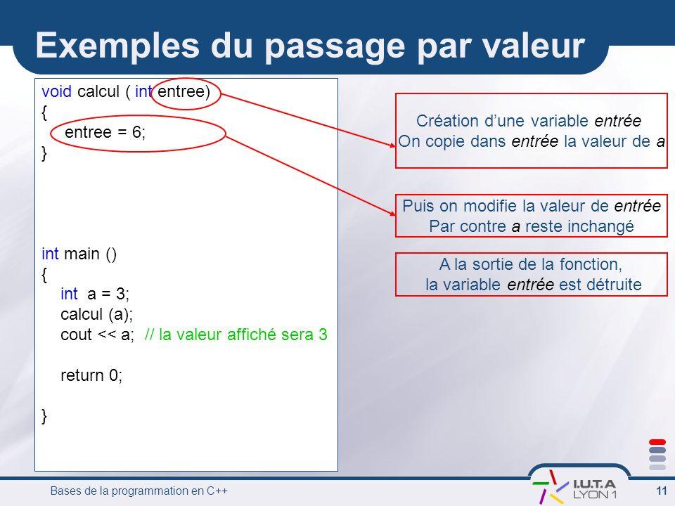 Exemples du passage par valeur