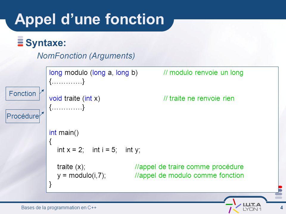 Appel d'une fonction Syntaxe: NomFonction (Arguments)