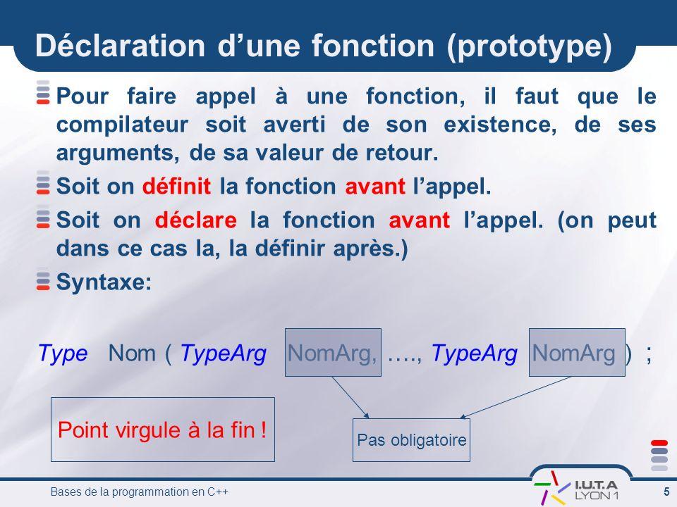 Déclaration d'une fonction (prototype)