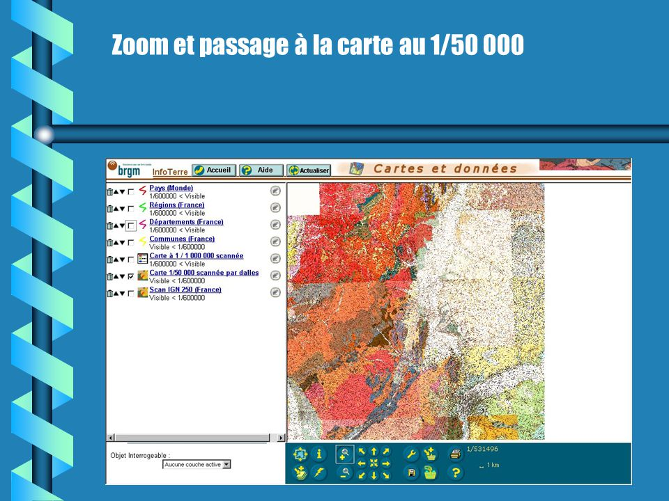 Zoom et passage à la carte au 1/50 000