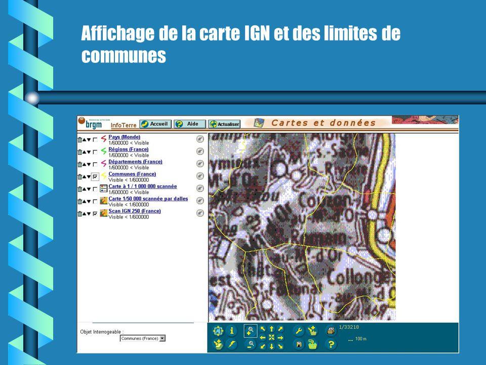 Affichage de la carte IGN et des limites de communes