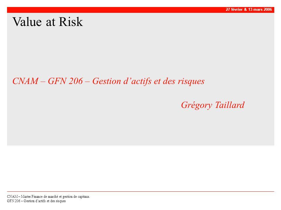 CNAM – GFN 206 – Gestion d'actifs et des risques Grégory Taillard