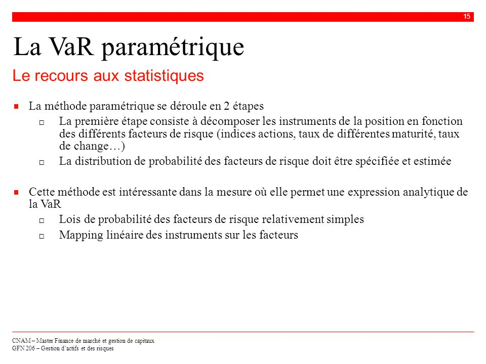 La VaR paramétrique Le recours aux statistiques