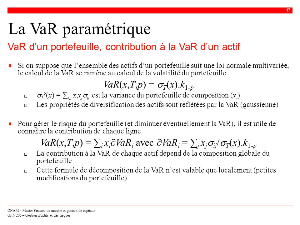 VaR(x,T,p) = ∑i xi∂VaRi avec ∂VaRi = ∑j xjsij/sT(x).k1-p