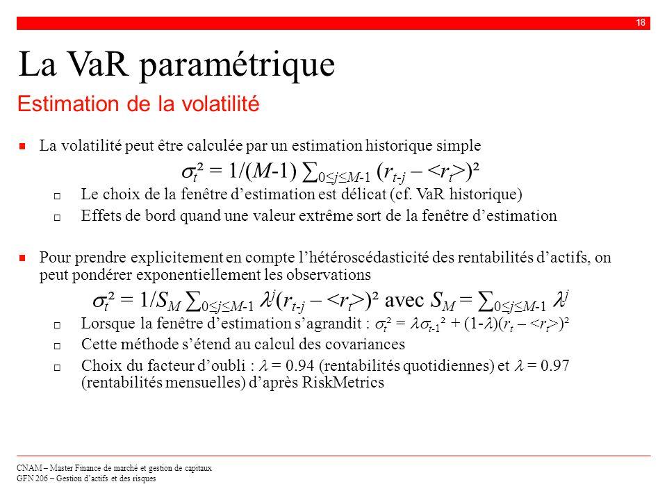La VaR paramétrique Estimation de la volatilité