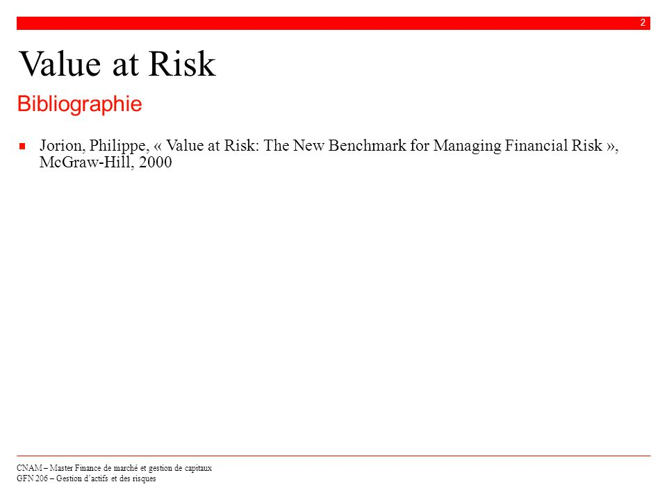 Value at Risk Bibliographie