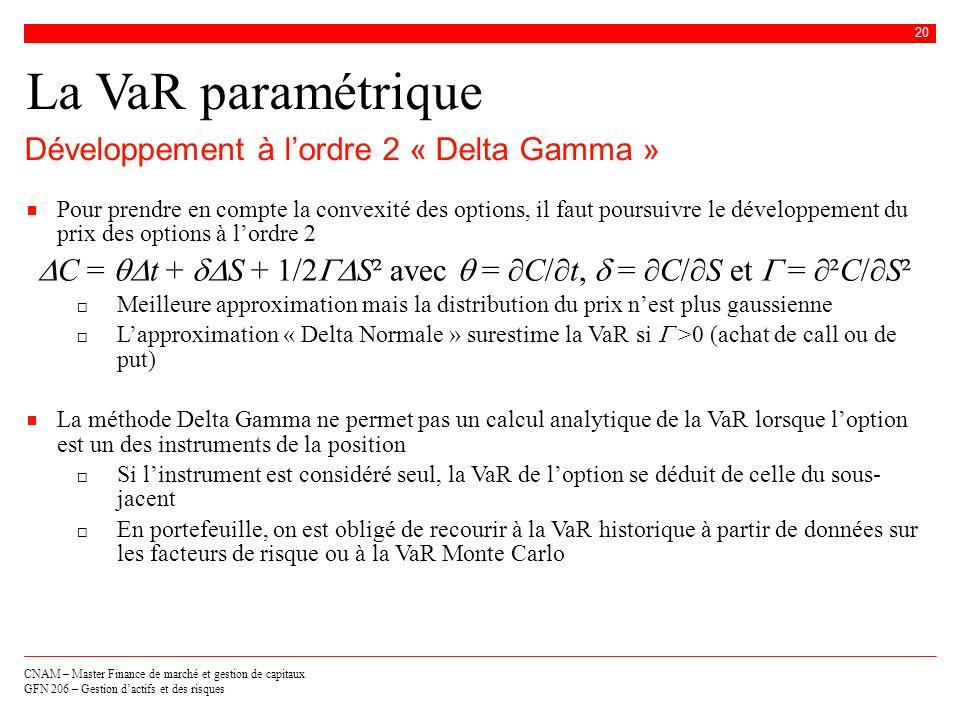 DC = qDt + dDS + 1/2GDS² avec q = ∂C/∂t, d = ∂C/∂S et G = ∂²C/∂S²