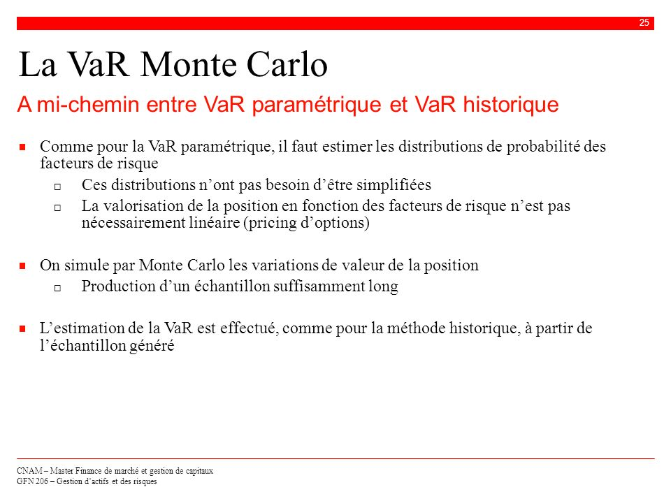 La VaR Monte CarloA mi-chemin entre VaR paramétrique et VaR historique.