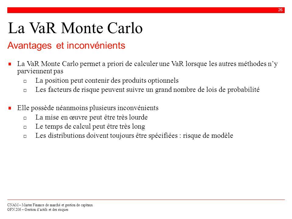 La VaR Monte Carlo Avantages et inconvénients