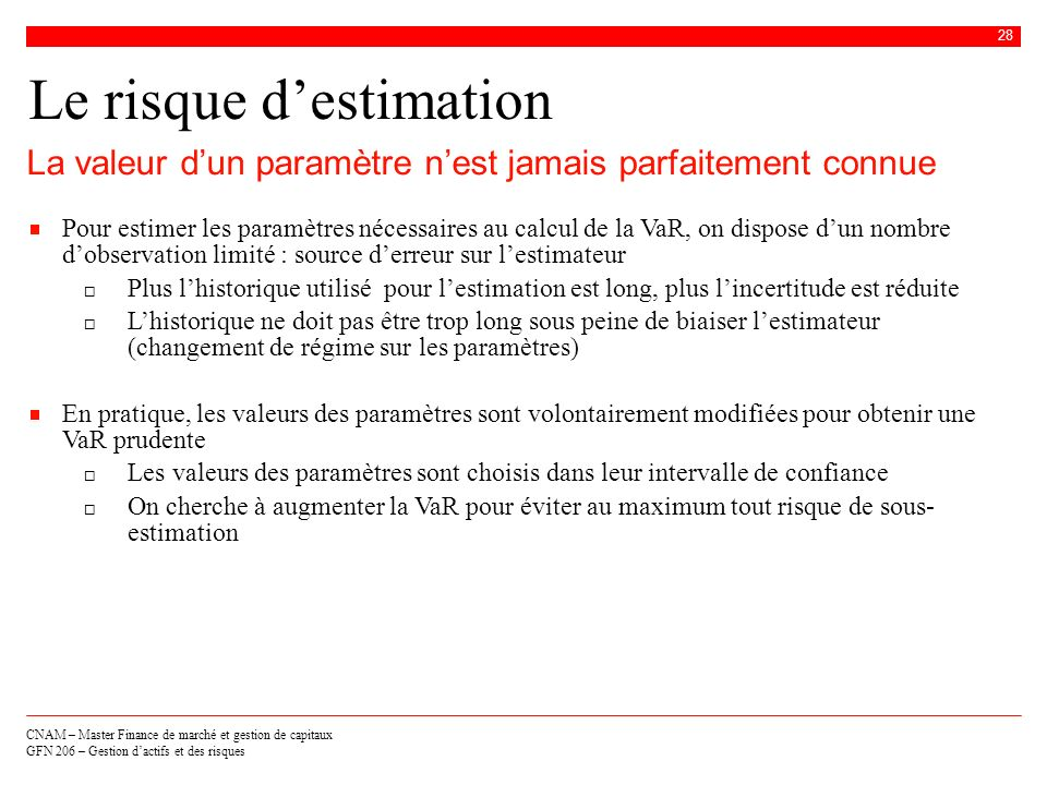 Le risque d'estimation