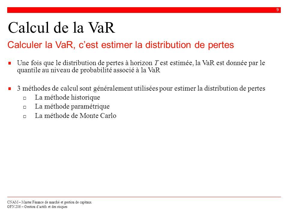 Calcul de la VaRCalculer la VaR, c'est estimer la distribution de pertes.