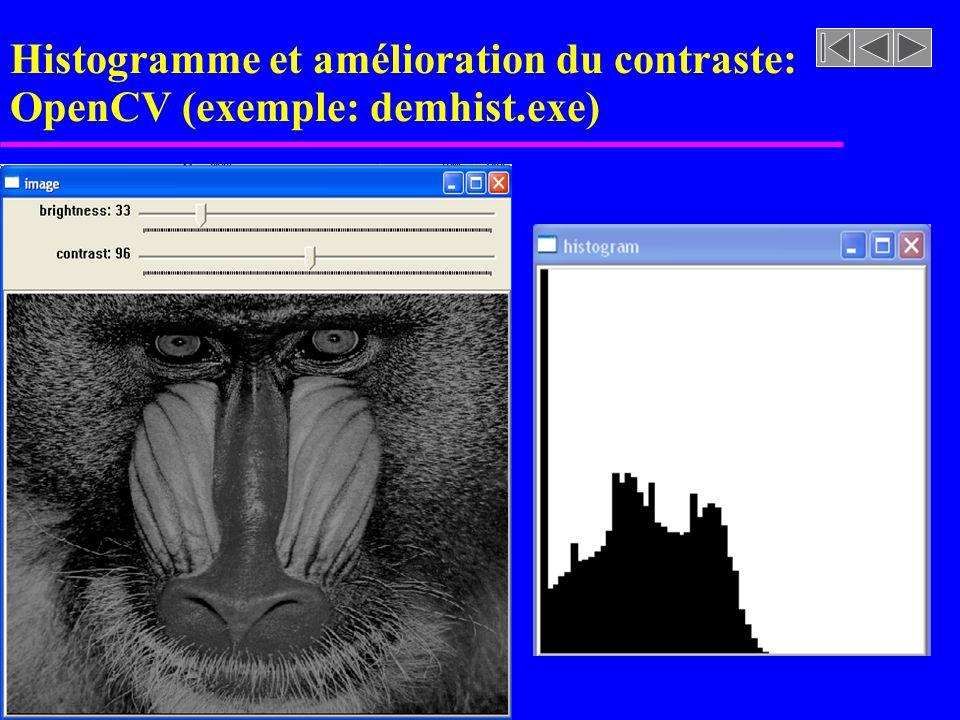 Histogramme et amélioration du contraste: OpenCV (exemple: demhist