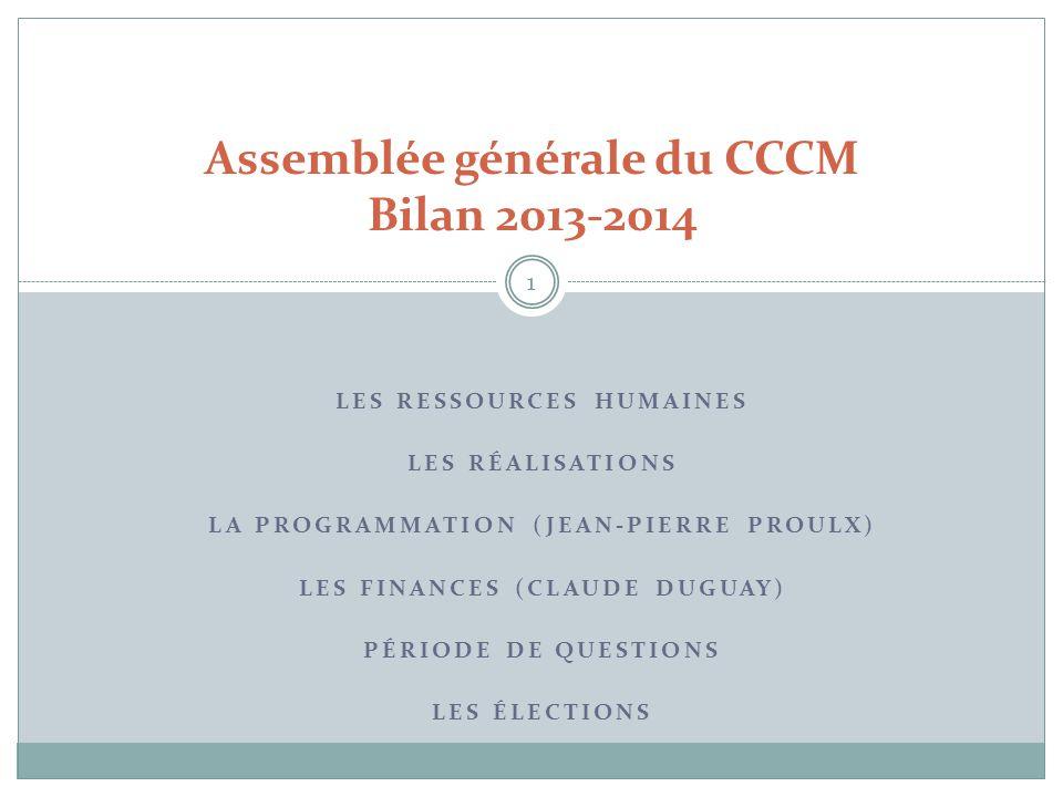 Assemblée générale du CCCM Bilan 2013-2014