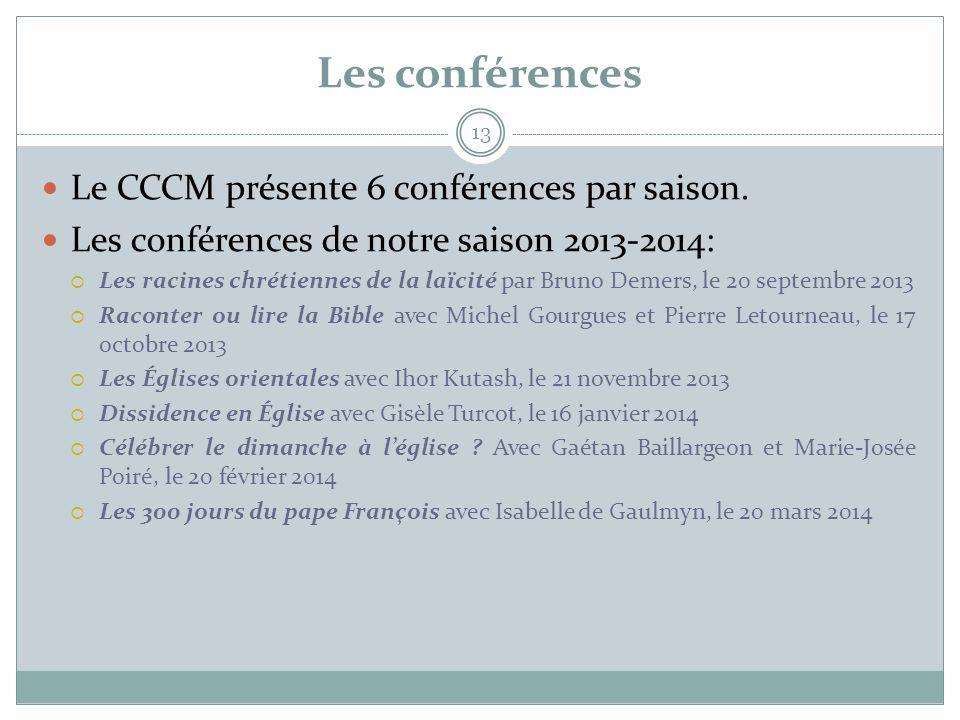 Les conférences Le CCCM présente 6 conférences par saison.