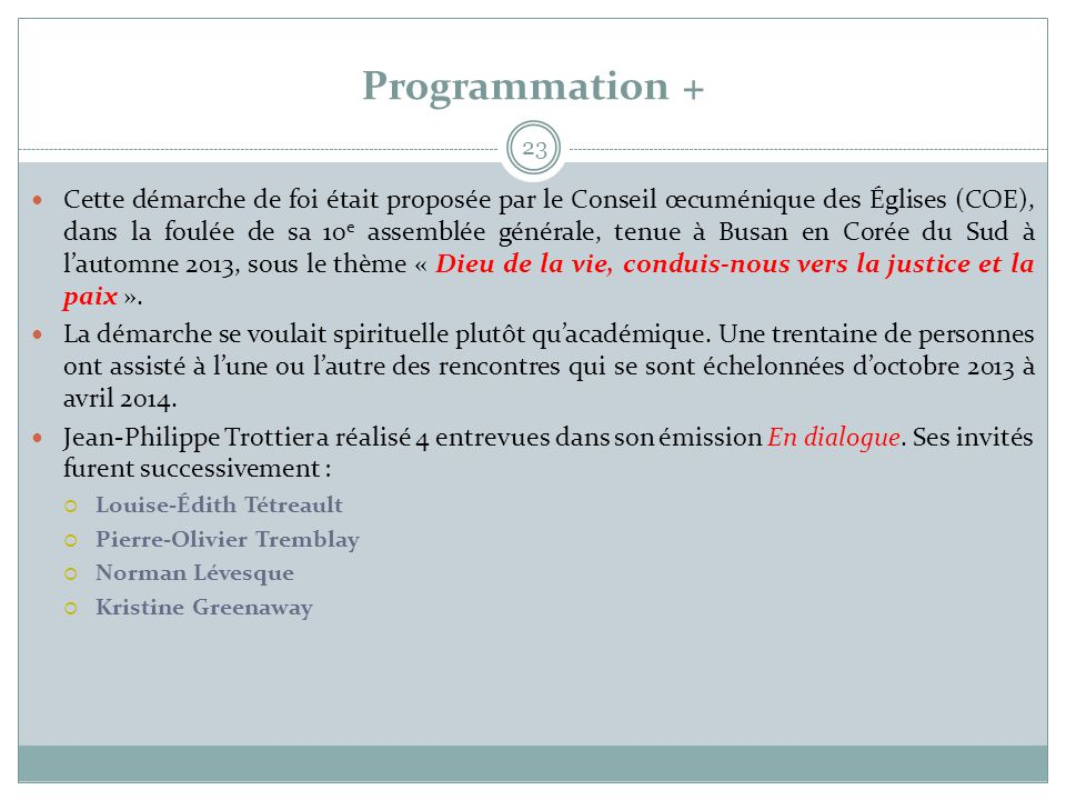 Programmation +