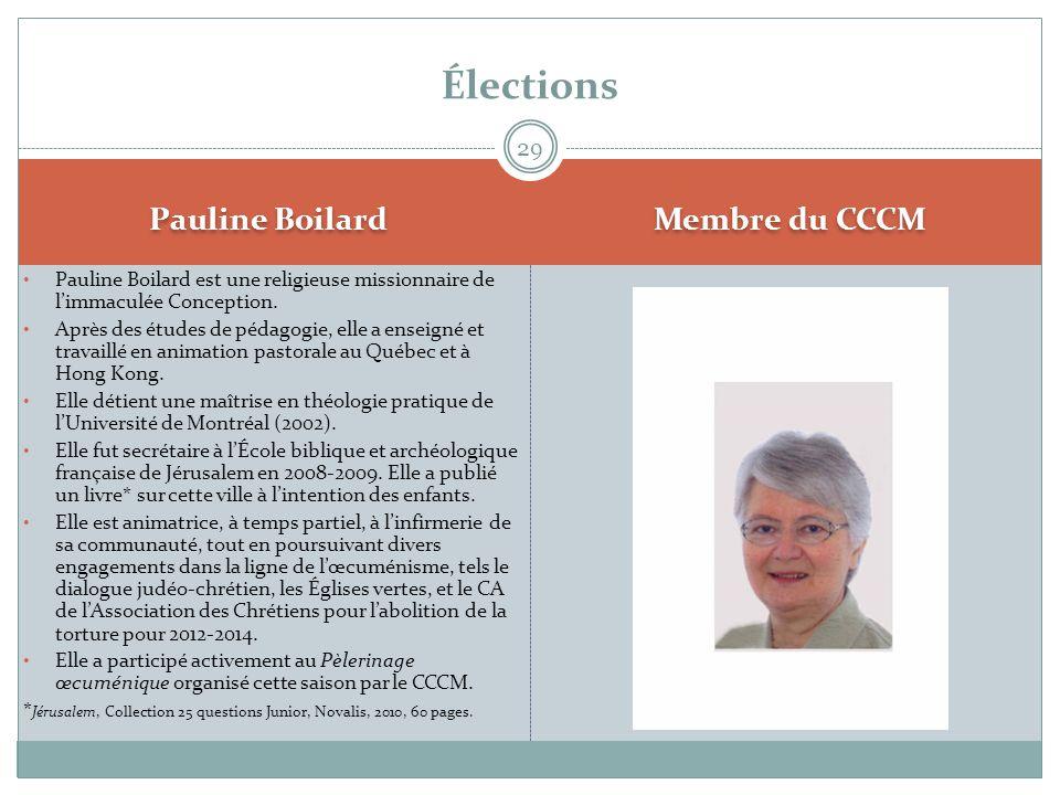 Élections Pauline Boilard Membre du CCCM