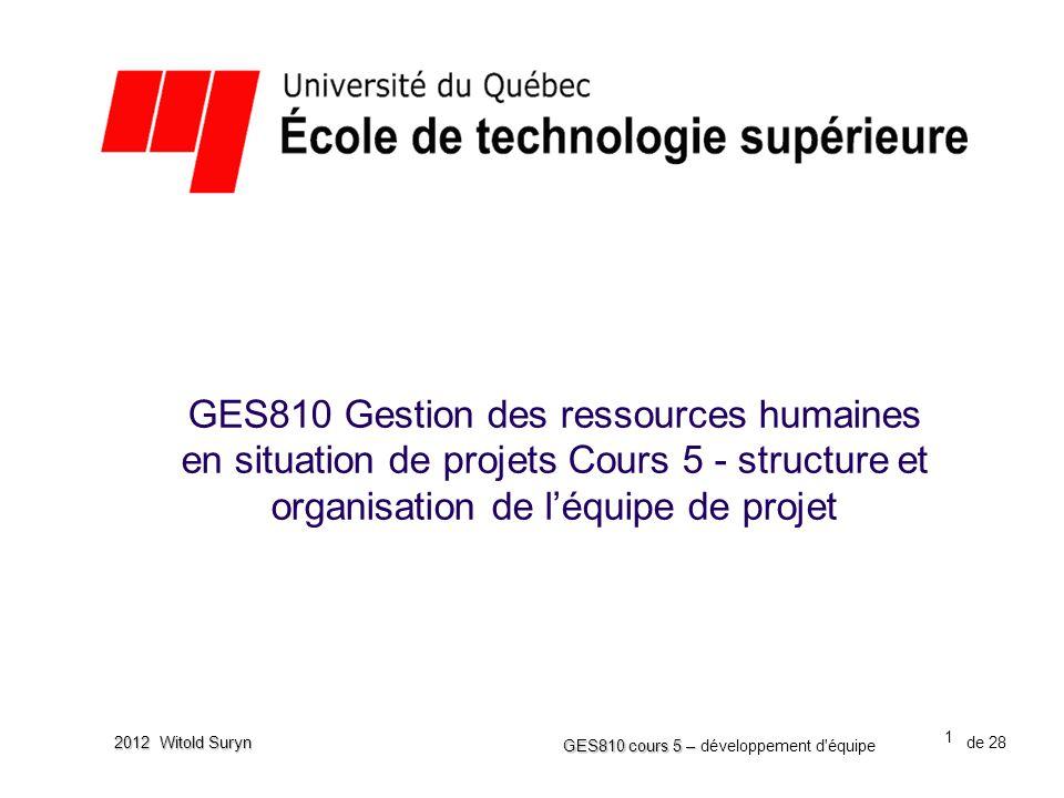 GES810 Gestion des ressources humaines en situation de projets Cours 5 - structure et organisation de l'équipe de projet
