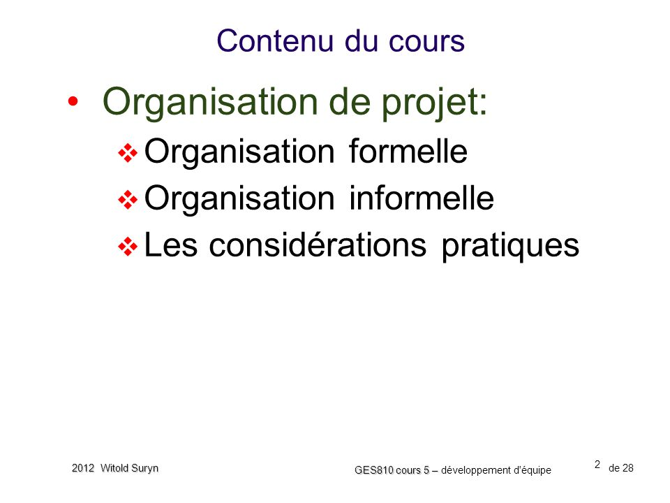 Organisation de projet: