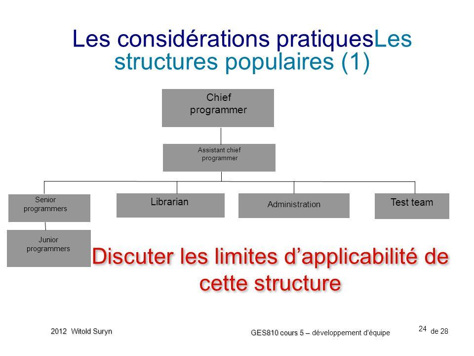 Les considérations pratiquesLes structures populaires (1)