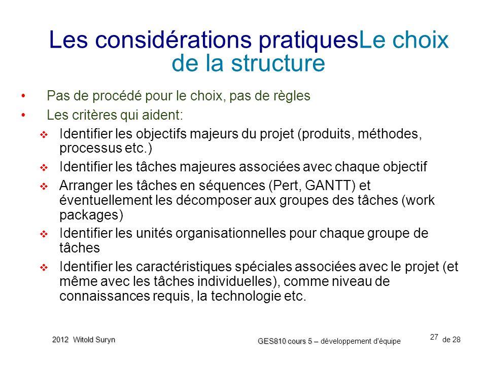 Les considérations pratiquesLe choix de la structure