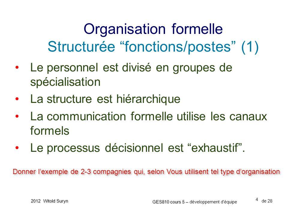 Organisation formelle Structurée fonctions/postes (1)