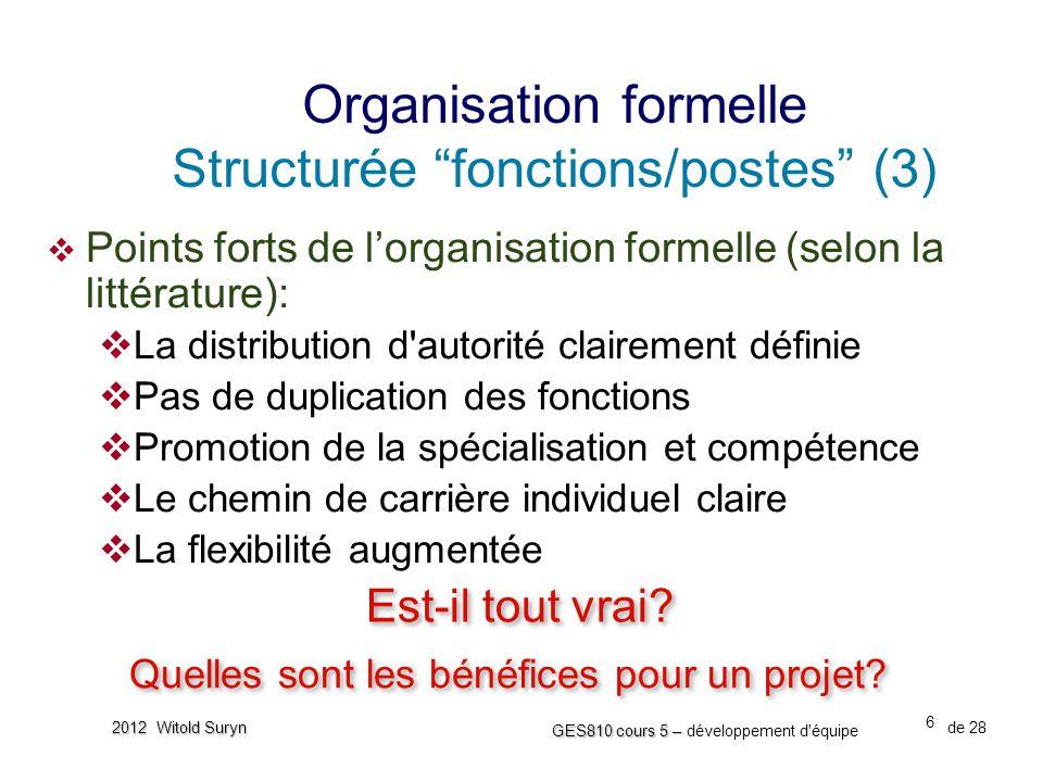 Organisation formelle Structurée fonctions/postes (3)